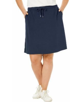 Plus Size Women's Sport Knit Skort by Woman Within in Navy Blue (6X) | Cotton