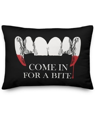 Deisgns Direct Come in for a Bite Oblong Throw Pillow in Black