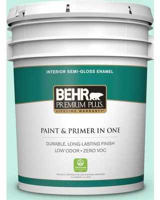 BEHR PREMIUM PLUS 5 gal. #P430-1 Summer House Semi-Gloss Enamel Low Odor Interior Paint and Primer in One