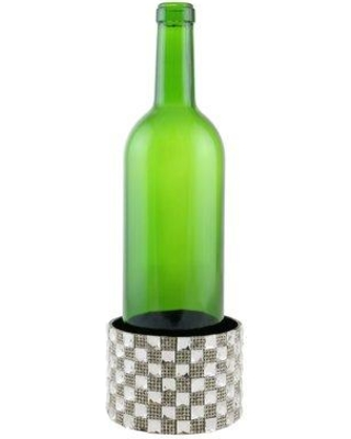 Everly Quinn Surface Protector Crystal Checkered Block Metal Decorated Wine Bottle Coaster EYQN1429