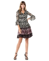 Gabby Skye Women's 3/4 Bell Sleeve V-Neck Fit and Flare Lace Dress, Tan/Plum/Black, 4