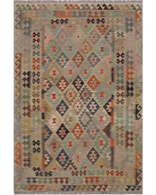 Kilim Margarit Tan/Gray Hand-Woven Wool Rug -5'9 x 8'1 - 5 ft. 9 in. X 8 ft. 1 in.
