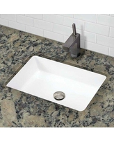 DECOLAV Lilli Classically Redefined Ceramic Rectangular Undermount Bathroom Sink with Overflow 1482-CWH