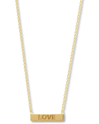 """Jared The Galleria Of Jewelry Love Bar Necklace 14K Yellow Gold 16"""""""