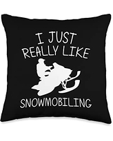 Best Snowmobiler & Winter Racing Skimobile Designs Funny Gift for Men Women Snowmobiling Ice Sport Throw Pillow, 16x16, Multicolor