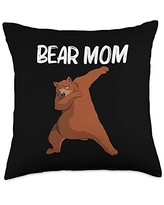 Cool Brown Wildlife Bear Hunters Mountain Clothes Funny Bear Gift For Mom Mother Little Mammal Animal Throw Pillow, 18x18, Multicolor