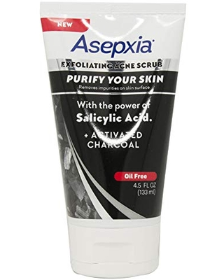 Asepxia Exfoliating Acne Scrub Cleansing Soap with Charcoal, 4.5 fl oz