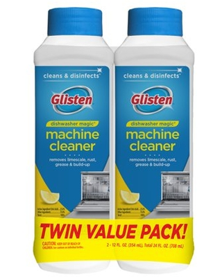 Glisten Dishwasher Cleaner and Disinfect, Safely Removes Hard Water Build-Up, Grease, and Lime, Fresh Lemon Scent, 12 Fluid Ounce, 2 Pack