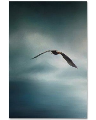 """Trademark Art 'Through the Rolling Storm Bald Eagle' Graphic Art Print on Wrapped Canvas ALI14192-C Size: 32"""" H x 22"""" W"""