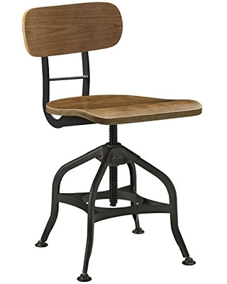 Sales For Modway Mark Rustic Modern Farmhouse Steel Metal Wood Adjustable Dining Chair In Brown