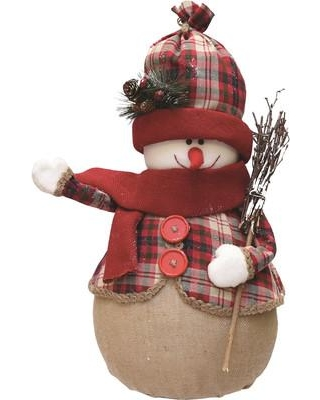 Northlight Plaid Snowman with Broom Scarf and Hat Table Top Christmas Figure 32259325