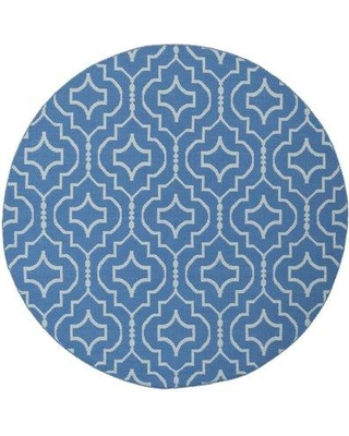 Wrought Studio Rennie Hand-Woven Cotton Blue/Ivory Area Rug VKGL8201 Rug Size: Round 6'