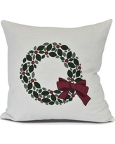 """The Holiday Aisle Holly Wreath Throw Pillow HLDY7463 Size: 20"""" H x 20"""" W"""
