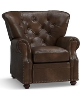 Lansing Leather Recliner, Polyester Wrapped Cushions, Vintage Cocoa