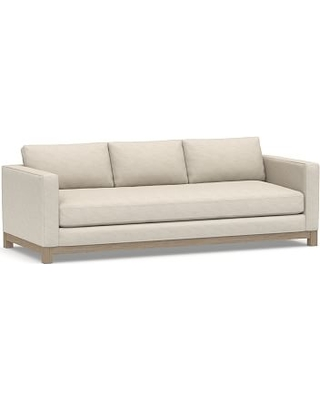 """Jake Upholstered Grand Sofa 95"""" with Wood Legs, Polyester Wrapped Cushions, Performance Slub Cotton Stone"""