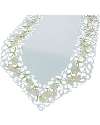 """Xia Home Fashions Spring Garden Embroidered Cutwork Table Runner, Lace in Ivory/White, Size 72"""" L x 15"""" W 