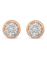 Diamour Pink 3/8 ct. t.w. Round-cut Diamond Cluster Stud Earrings in 10K Rose Gold