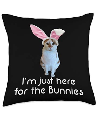 Easter Bunny Basket Gifts Easter Cat Funny Here for Bunnies Throw Pillow, 18x18, Multicolor
