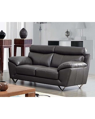 """8049 80492 72"""" Loveseat with Piped Stitching Metal Legs Top Grain Leather and Eco-Leather Upholstery on Back in"""