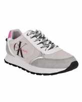 Calvin Klein Jeans Women's Cayle Active Casual Logo Lace-Up Sneakers - White/Pearl/Pink