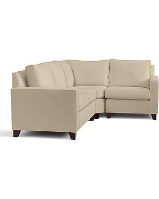 Cameron Square Arm Upholstered Left Arm 3-Piece Wedge Sectional, Polyester Wrapped Cushions, Performance Everydayvelvet(TM) Buckwheat