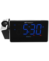 """Emerson SmartSet Projection Alarm Clock Radio with USB Charging for Iphone/Ipad/Ipod/Android and Tablets, Digital FM Radio, 1.4"""" Blue LED Display, 4 level Dimmer, ER100103"""