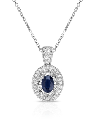 "Noray Designs 14K White Gold Oval Blue Sapphire & Diamond (0.40 Ct, G-H Color, SI2-I1 Clarity) Pendant, 18"" Gold Chain"