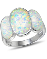 Created White Opal Sterling Silver Triple-Oval Fashion Ring
