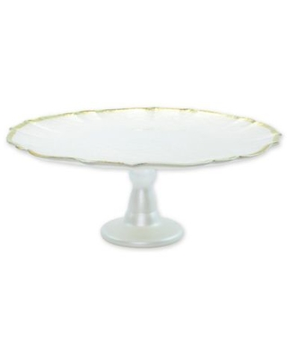 viva by VIETRI Baroque Glass Footed Cake Stand in White