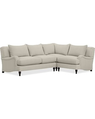Carlisle Upholstered 3 Piece L Shaped Corner Sectional, Polyester Wrapped Cushions, Premium Performance Basketweave Pebble
