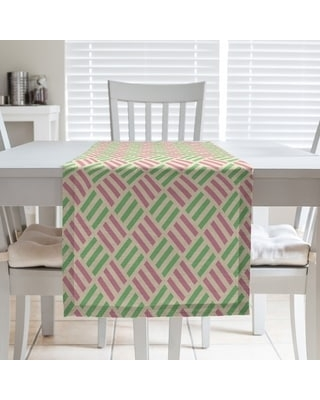 Full Color Stripe Diamonds Table Runner (16 x 72 - Cotton Blend - Yellow Pink & Green)
