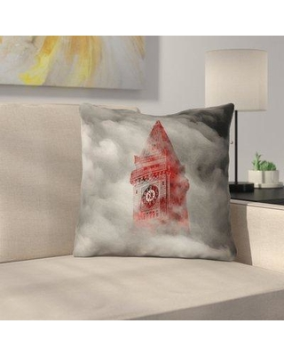 """East Urban Home Double Sided Print Watercolor Gothic Clocktower Throw Pillow URBR7258 Size: 16"""" x 16"""""""
