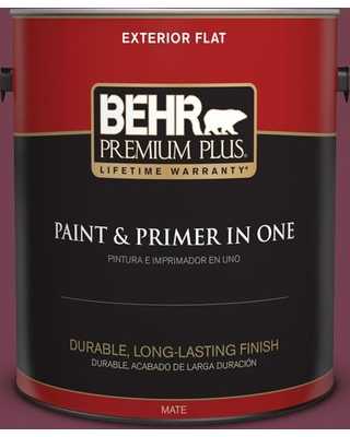 BEHR PREMIUM PLUS 1 gal. #T11-4 Blood Rose Flat Exterior Paint and Primer in One