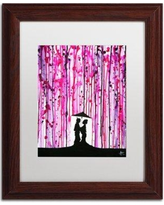"""Trademark Art 'Wild Blossoms' Framed Acrylic Painting Print on Canvas ALI5857 Size: 14"""" H x 11"""" W Matte Color: White Format: Wood Grain Framed"""