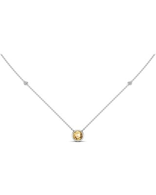 """Noray Designs 14K Gold Citrine (6 MM) & White Diamond Accent (0.06 Ct, G-H Color, SI2-I1 Clarity) Necklace, 16""""-18"""" - Yellow (White)"""