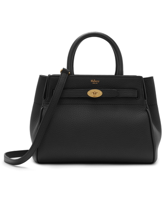 Mulberry Small Belted Bayswater Convertible Leather Satchel - Black
