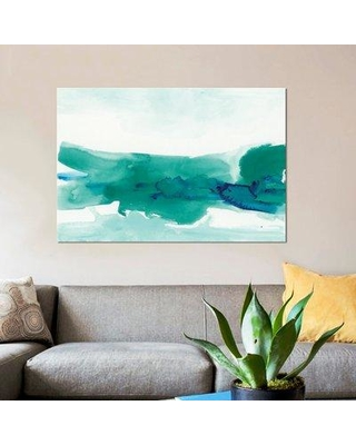 "East Urban Home 'Teal Coast II' Painting Print on Wrapped Canvas ESRB9538 Size: 40"" H x 60"" W x 1.5"" D"