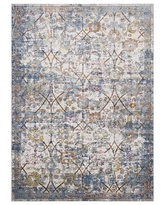 Modway Minu Distressed Floral Lattice 5x8 Area Rug in Light Blue, Yellow and Orange
