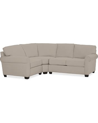 Buchanan Roll Arm Upholstered Right Arm 3-Piece Wedge Sectional, Polyester Wrapped Cushions, Performance Twill Stone