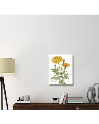 """East Urban Home 'October Marigold on White' Graphic Art Print on Canvas ERBR1694 Size: 28"""" H x 22"""" W x 1.5"""" D"""