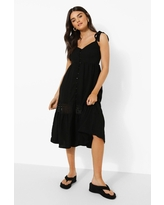 Womens Lace Detail Strappy Midaxi Dress - Black - S