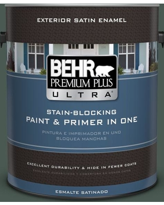 BEHR ULTRA 1 gal. #S420-7 Secluded Woods Satin Enamel Exterior Paint and Primer in One