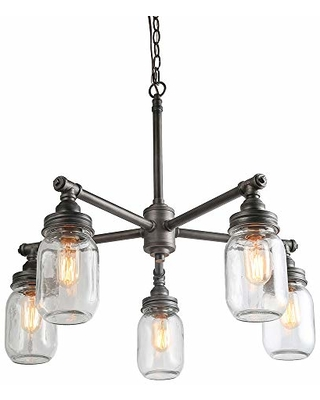 LNC LNC Sputnik Chandeliers for Dining Room,Farmhouse Vintage Water Pipe  Glass Mason Jar Lights (5 Heads),Black Silver Brushed A03480 from Amazon |