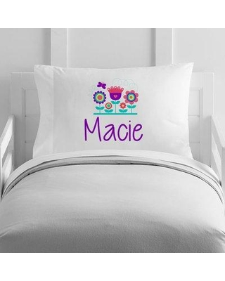 4 Wooden Shoes Personalized Flowers and Name Toddler Pillow Case WF-12-136