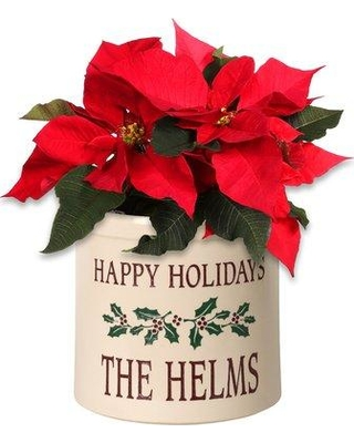 Shop The Holiday Aisle West Harptree Personalized Holiday Holly 2 Gallon Ceramic Pot Planter Customize Yes Ceramic In Red Size 9 H X 9 W X 9 D
