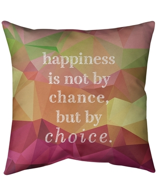 Quotes Faux Gemstone Happiness Inspirational Quote Pillow-Spun Polyester (14 x 14 - Square - Knife Edge - Medium - Polyester - N/A - Accent)
