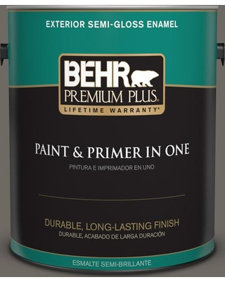 BEHR Premium Plus 1 gal. #PPU24-04 Burnished Pewter Semi-Gloss Enamel Exterior Paint and Primer in One