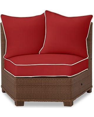 Palmetto Rounded Armless Sectional Cushion Slipcover, Sunbrella(R) Contrast Piped; Jockey Red