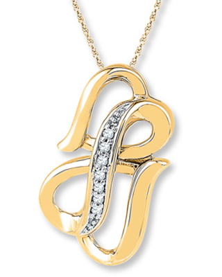 Heart/Infinity Necklace Diamond Accents 10K Yellow Gold