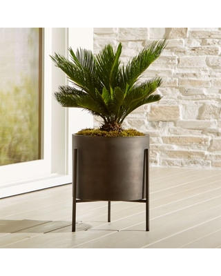 Dundee Bronze Low Planter With Stand